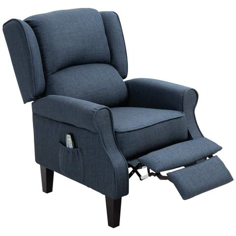 HOMCOM Massage Chair Heated Linen Fabric Recliner with Footrest Remote, Dark Blue