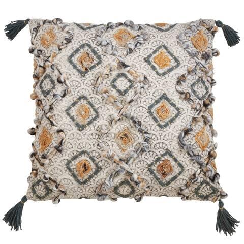 Geometrical Design Pillow with Block Print