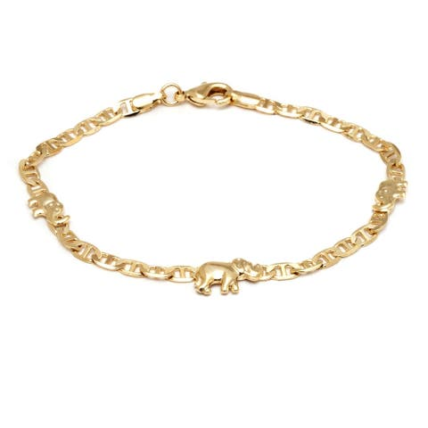 Chain Link Elephant Charm Anklet Made with 18k Yellow Gold Overlay