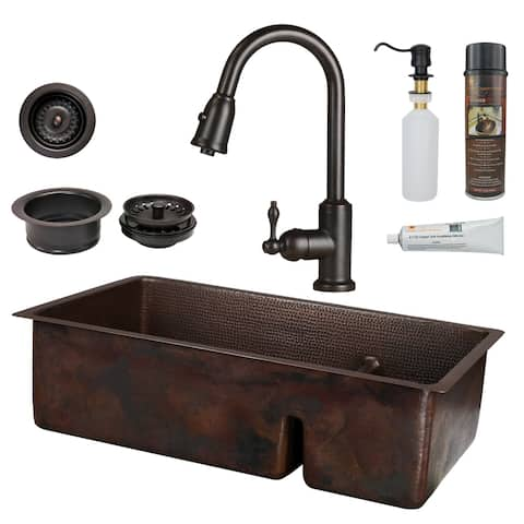 Premier Copper Products - KSP2_K70DB33199-SD5 Kitchen Sink, Faucet and Accessories