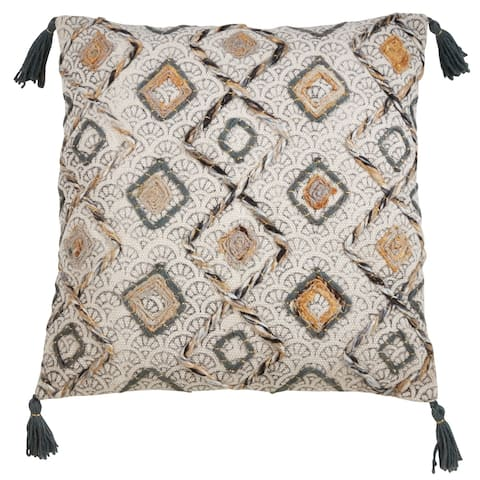 Tasseled Pillow with Block Print Embroidered Design