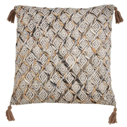 Block Print Pillow With Diamond Appliqué