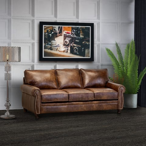Cabot Brown Top Grain Leather Sofa
