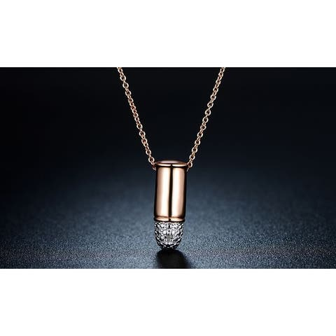 Silver Bullet Pendant Necklace Made with 18k Rose Gold and Cubic Zirconia Elements
