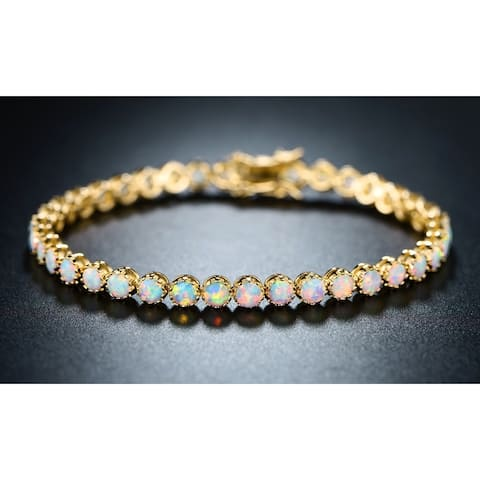 "18K Yellow Gold Plated 7"" White Fire Opal Crown Tennis Bracelet"