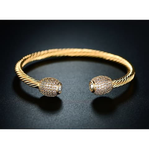 Yellow Gold Overlay and Crystal Open Cuff Bracelet