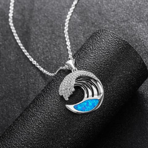 Ocean Wave Opal Pendant Necklace Made with 18k White Gold Overlay