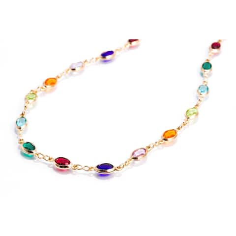 Dark Multi-Colored Infinity Anklet with Oval Swarovski Crystals