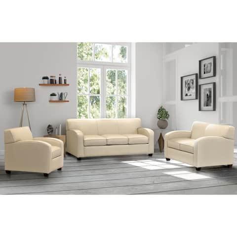 Hawthorn Cream Top Grain Leather Sofa, Loveseat, and Chair Set
