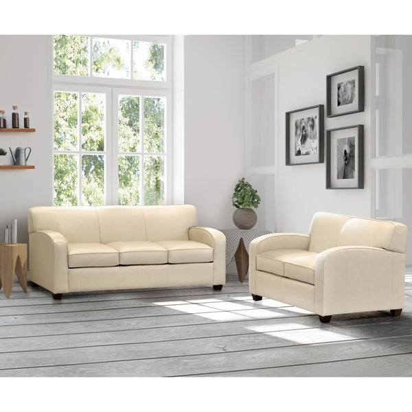 Made in USA Hawthorn Cream Top Grain Leather Sofa Bed and Loveseat