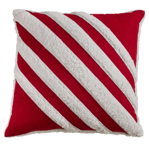 Diagonal Sherpa Stripe Design Throw Pillow