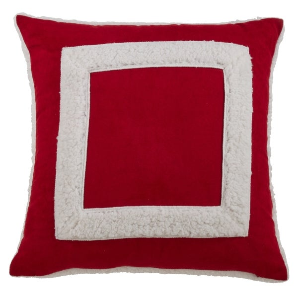Square Sherpa Design Throw Pillow. Opens flyout.