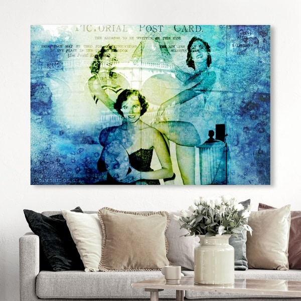 Oliver Gal 'Cambridge' Fashion and Glam Wall Art Canvas Print - Blue, Green