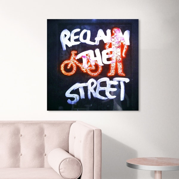 Oliver Gal 'Reclaim The Street' Typography and Quotes Wall Art Canvas Print - Black, White