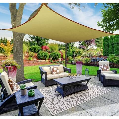 Sun Shade Sail Canopy, Rectangle, Beige, 12'x16' - 4 five foot Rope