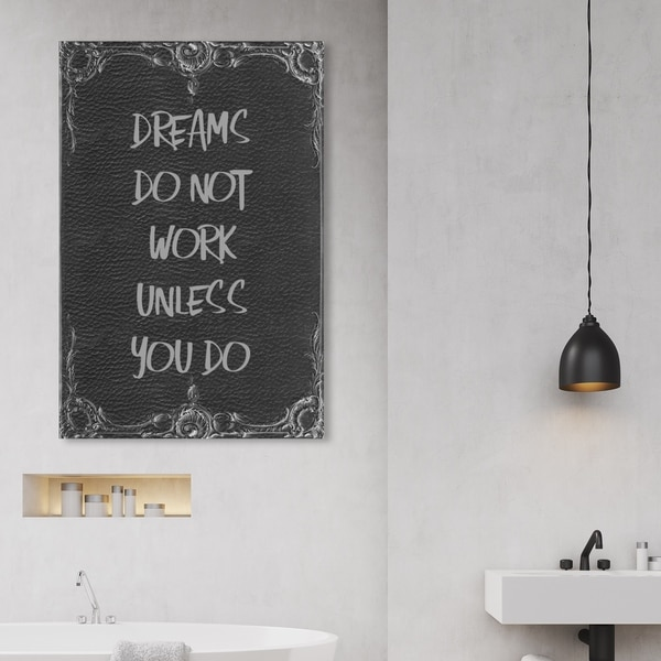 Oliver Gal 'Dreams Don't Work' Typography and Quotes Wall Art Canvas Print - Black, White