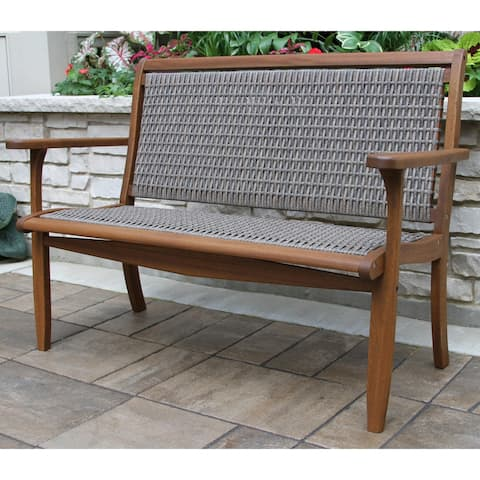 Eilana Driftwood Grey Wicker and Eucalyptus Bench by Havenside Home