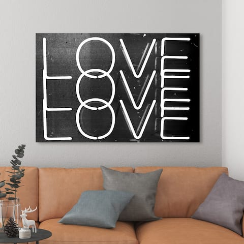 Oliver Gal 'Love Neon Nights' Typography and Quotes Wall Art Canvas Print - Black, White