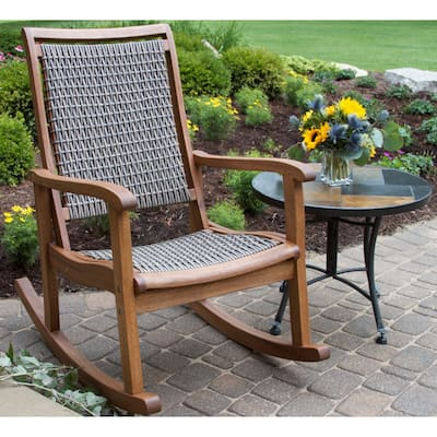 Driftwood Grey Wicker & Eucalyptus Rocking Chair