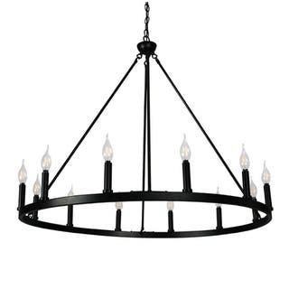 Canyon Home 12 Light Chandelier Wagon Wheel Matte Black Steel Frame