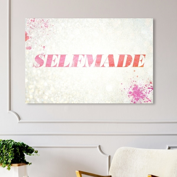 Oliver Gal '$elfmade Coral' Typography and Quotes Wall Art Canvas Print - Pink, White