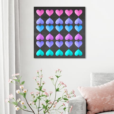 Oliver Gal 'Neon Love Game' Fashion and Glam Wall Art Canvas Print - Pink, Blue