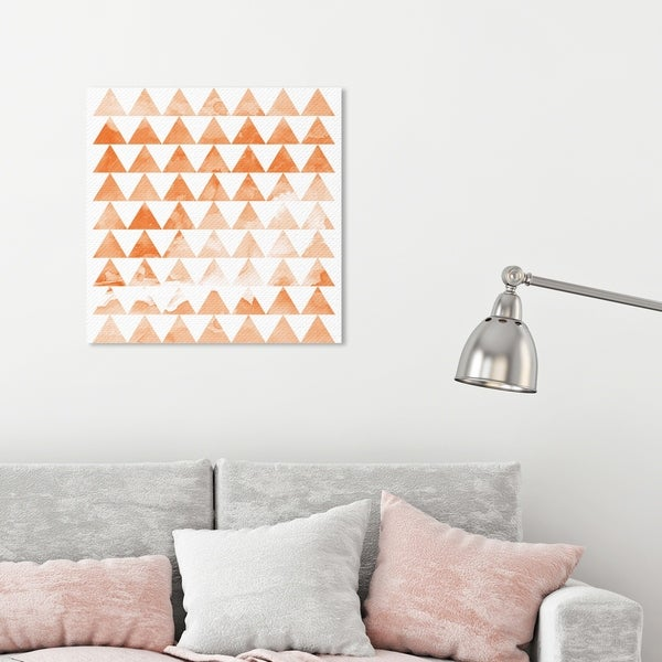 Oliver Gal 'Party Time Triangles' Abstract Wall Art Canvas Print - Orange, White