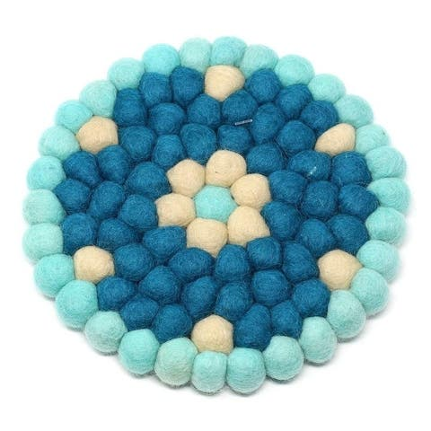 The Curated Nomad Southard Flower Power Felt Ball Trivet