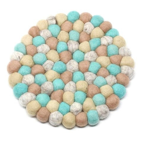 The Curated Nomad Southard Colorful Felt Ball Trivet
