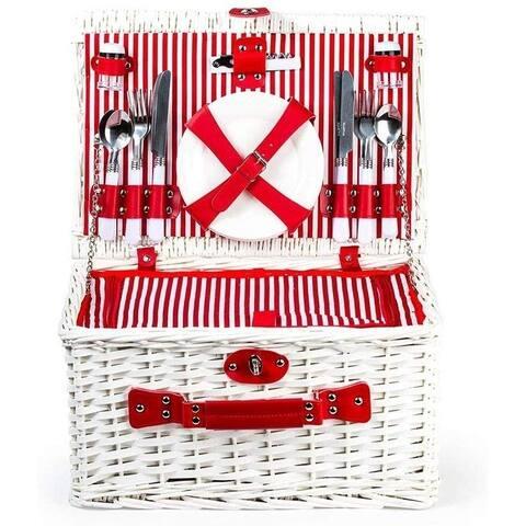 Wicker Picnic Cooler Basket Gift Set for 4 - Reusable Plates Cups & Utensils Red Stripes
