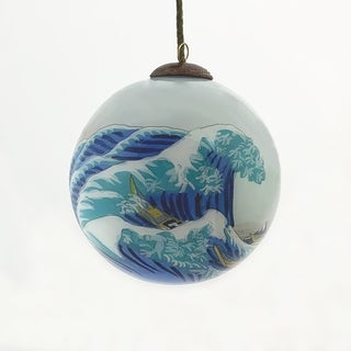 Link to overstockArt The Great Wave off Kanagawa Hand Painted Glass Ornament Similar Items in Christmas Decorations