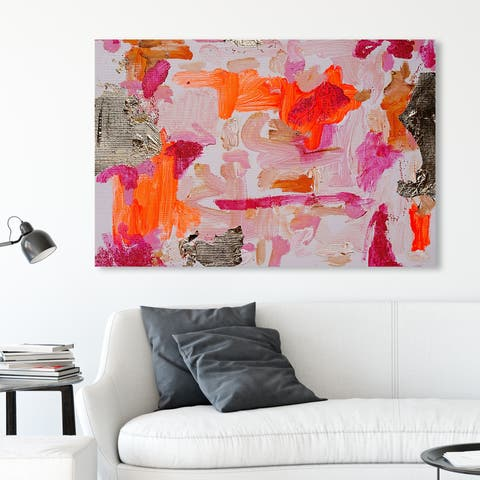 Oliver Gal 'Tiffany Pratt - Tender Gesture' Abstract Wall Art Canvas Print - Pink, Orange