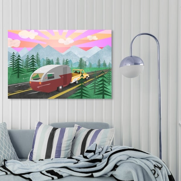 Oliver Gal 'Cool Camper' Entertainment and Hobbies Wall Art Canvas Print - Green, Pink