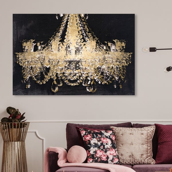 Oliver Gal 'Chandelier Gold' Fashion and Glam Wall Art Canvas Print - Gold, Black