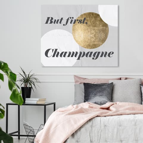 Oliver Gal 'But First Champagne' Typography and Quotes Wall Art Canvas Print - Gold, Gray