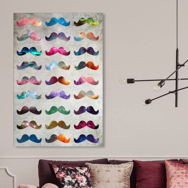 Oliver Gal 'Moustache Madness' Abstract Wall Art Canvas Print - Gray, Pink