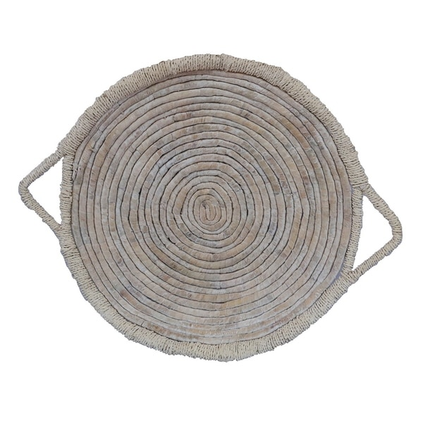 Grey Water Hyacinth Tray in White Natural Fiber 32in L x 32inW x 4inH