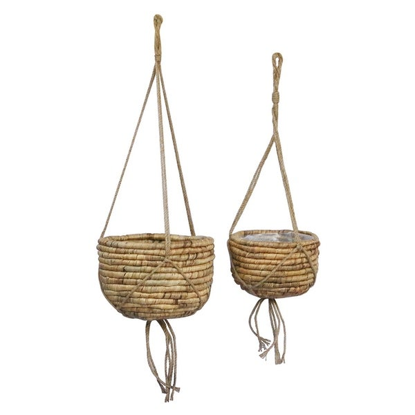 Grey Water Hyacinth Basket Set of 2 in Brown 12in L x 12in W x 8in H