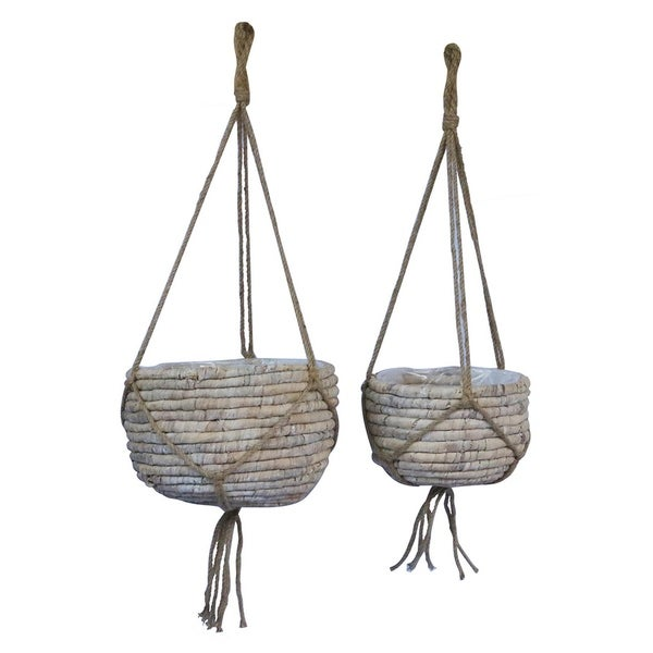 Grey Water Hyacinth Basket Set of 2 in White 12in L x 12in W x 8in H