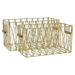 Grey Metal Basket Set of 2 in Gold Metal 17in L x 9in W x 9in H