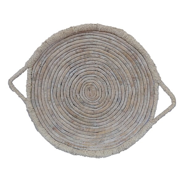 Grey Water Hyacinth Tray in White Natural Fiber 24in L x 24inW x 3inH