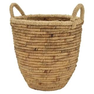 Grey Water Hyacinth Basket in Brown 14in L x 14in W x 14in H