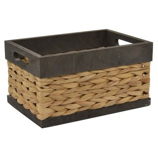 GreyWood/water Hyacinth Basket in Gray Wood 12in L x 8in W x 6in H