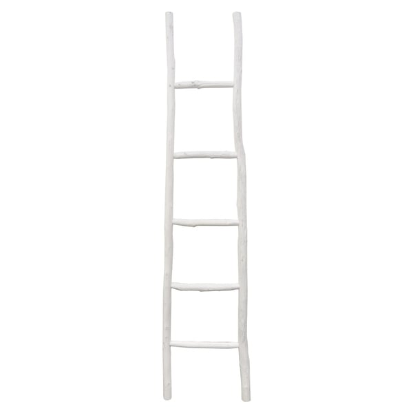 GreyWood Ladder Decor- White in White Wood 17in L x 2in W x 70in H