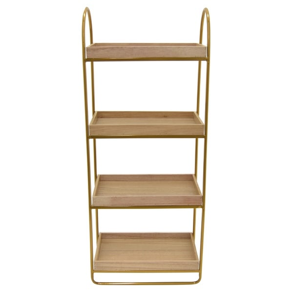 Three Hands Metal Plant Stand in Gold Metal 16in L x 10in W x 38in H