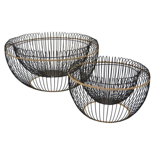 Grey Metal Basket Set of 2 in Black Metal 20in L x 20in W x 9in H