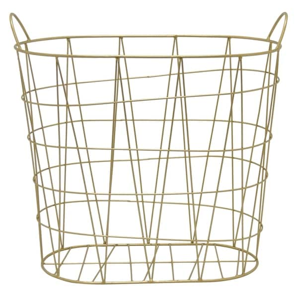 Three Hands Metal Basket in Gold Metal 19in L x 10in W x 18in H