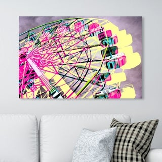 Oliver Gal 'Ferris Wheel' Entertainment and Hobbies Wall Art Canvas Print - Pink, Yellow