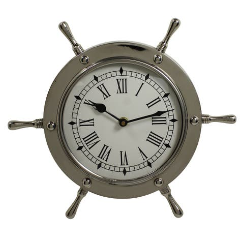 Nautical Ship Wheel Aluminum Wall Clock