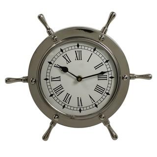 Nautical Ship Wheel Aluminum Wall Clock
